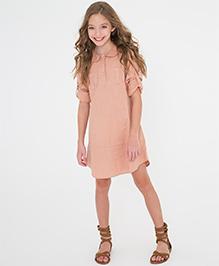 Yo Baby Button Front Shift Dress - Peach