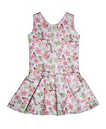 Kadambaby Sleeveless Floral Print Corduroy Dress - White Pink Green