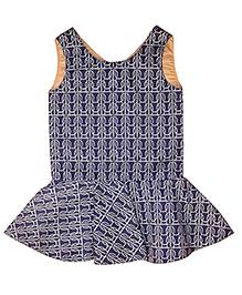Kadambaby Sleeveless Floral Print Corduroy Dress - Navy
