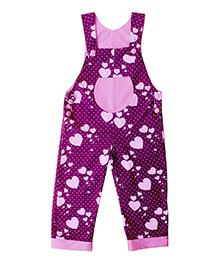 Kadambaby Sleeveless Hearts Print  Dungaree - Purple
