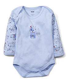 Tango Full Sleeves Friends Print Onesie - Light Blue