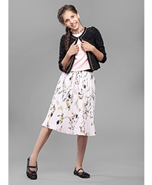 One Friday Party Wear Pleated Skirt Floral Print - White