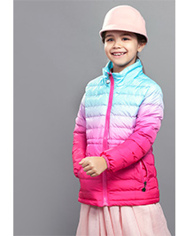 One Friday Full Sleeves Tie & Dye Party Wear Quilted Jacket - Pink Sea Green