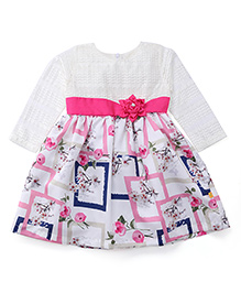Yellow Duck Full Sleeves Printed Frock - Off White & Pink