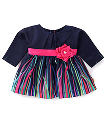 Yellow Duck Full Sleeves Baby Frock Floral Applique - Navy