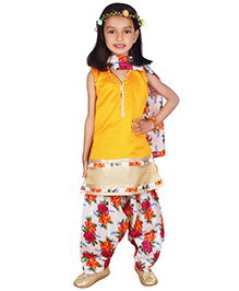 Bunchi Sleeveless Kurti With Salwar And Dupatta Floral Print - Yellow White