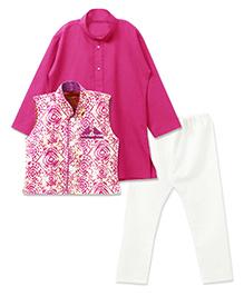 Bunchi Kurta Pyjama Set With Batik Waistcoat - Pink