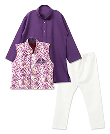 Bunchi Kurta Pyjama Set With Batik Waistcoat - Purple