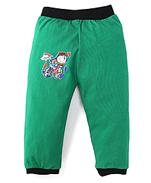 Red Ring Doraemon Print Track Pant - Green And Black