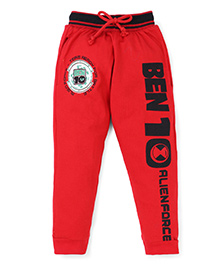Red Ring Track Pant Ben 10 Print - Black And Red