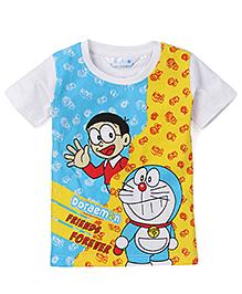 Doraemon Half Sleeves Printed T-Shirt - Blue Yellow
