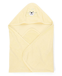 Babyhug Kitty Patch Hooded Bath Towel - Lemon Yellow