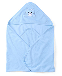 Babyhug Kitty Patch Hooded Bath Towel - Sky Blue