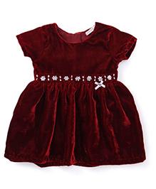 Babyhug Party Wear Dress Stone Embellishment - Maroon