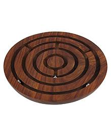 Desi Karigar Handcrafted Wooden Board Game Round Labyrinth Diameter 15 Cm