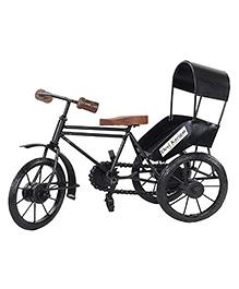 Desi Karigar Metal & Wood Rickshaw Showpiece - Black & Brown