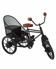 Desi Karigar Miniature Metal & Wood Cycle Rickshaw - Black & Brown