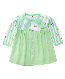 Babyhug Full Sleeves Frock With Front Button Closure - Green