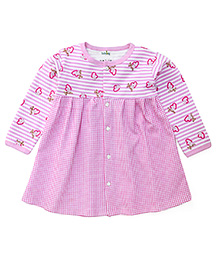 Babyhug Full Sleeves Frock With Front Button Closure - Pink