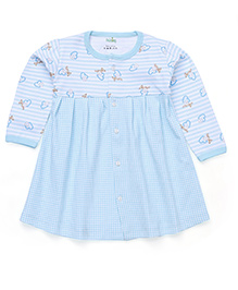 Babyhug Full Sleeves Frock With Front Button Closure - Blue