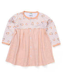 Babyhug Full Sleeves Frock With Front Button Closure - Peach