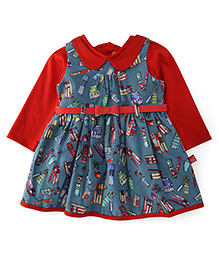 Yellow Duck Sleeveless Winter Frock With Inner Tee - Red
