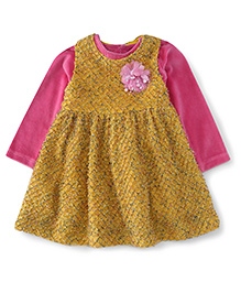 Yellow Duck Sleeveless Winter Frock With Inner Tee - Yellow & Pink