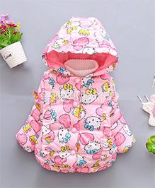 Superfie Animal Print Jacket With Hood - Pink