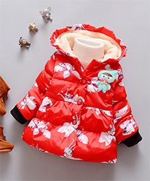 Superfie Cute Long Hoodie Jacket - Red