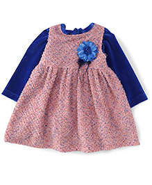 Yellow Duck Sleeveless Winter Frock With Inner Tee - Blue & Pink