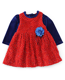 Yellow Duck Sleeveless Winter Frock With Inner Tee - Red & Blue
