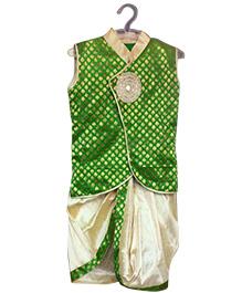 Swini's Baby Wardrobe Sleeveless Kurta And Dhoti - Green Cream