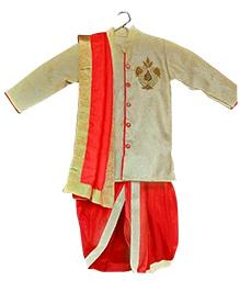 Swini's Baby Wardrobe Full Sleeves Kurta And Dhoti - Cream Red