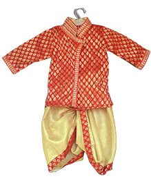 Swini's Baby Wardrobe Full Sleeves Kurta And Dhoti - Red Gold