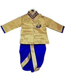 Swini's Baby Wardrobe Full Sleeves Kurta And Dhoti - Cream Blue