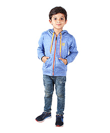 Anthill Full Sleeves Hooded Poly Fleece Jacket - Blue
