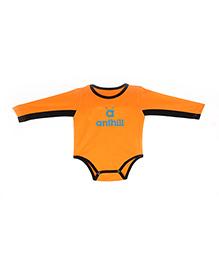 Anthill Long Sleeves Onesie With Brand Print - Orange Black