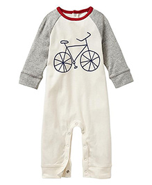 Anthill Raglan Sleeves Romper Bicycle Print - White Grey