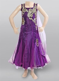 Sleeveless Party Frock - Purple