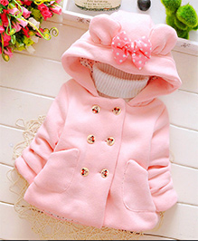 Tickles 4 U Jacket With Bow On Hood & Cartoon Printed Buttons - Pink