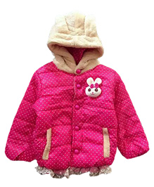 Tickles 4 U Polka Dotted Jacket With Hood & Cartoon Patch - Pink