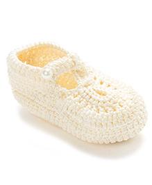 Funkrafts Crochet Pearl Sandals - Cream