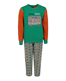 Haig-Dot Full Sleeves Fleece Track Suit Bus Print - Green Orange