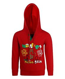 Haig-Dot Full Sleeves Fleece Hoodie Monekys Print - Red