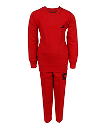 Haig-Dot Full Sleeves Fleece Track Suit - Red