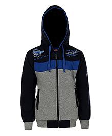 Haig-Dot Full Sleeves Printed Hooded Jacket - Navy Blue Grey