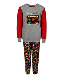 Haig-Dot Full Sleeves Fleece Track Suit Bus Print - Red Grey