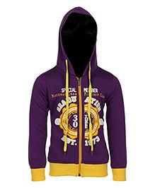 Haig-Dot Full Sleeves Printed Hooded Jacket - Purple