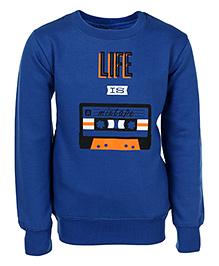 Haig-Dot Full Sleeves Sweatshirt Life is Mixtape Print - Blue