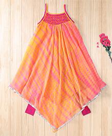 Twisha Trendy Asymetrical Hem Shibori Kurta With Legging - Peach